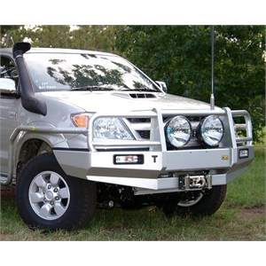 A steel bull bar on a Hilux from TJM