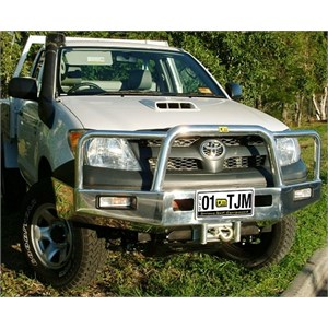 A alloy bull bar on a Hilux from TJM