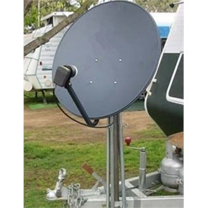 Satellite dish mounted at the front of a caravan
