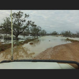 Etadunna Station vehicle on the flooding Birdsville Track