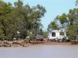 Camping at the Lagoon at Kilcowera Station on the Dowling Track.